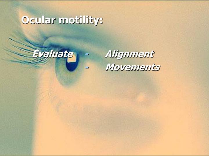 Ocular motility: