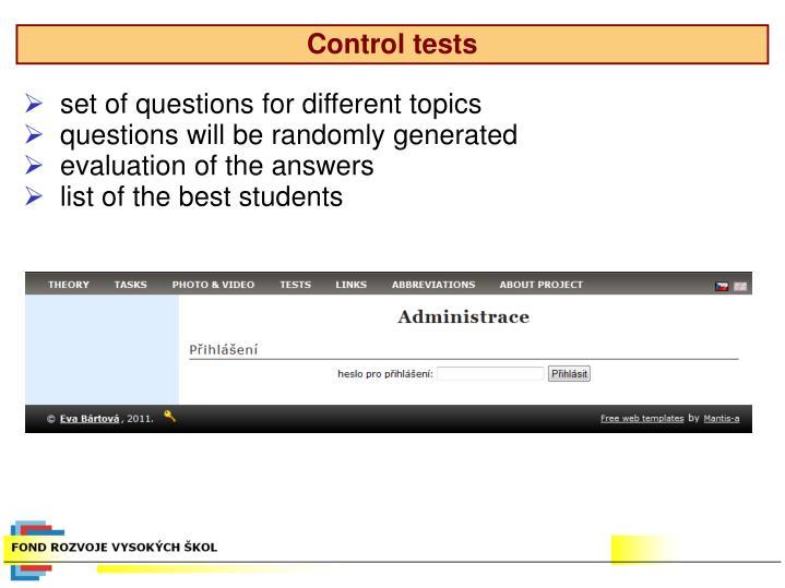 Control tests