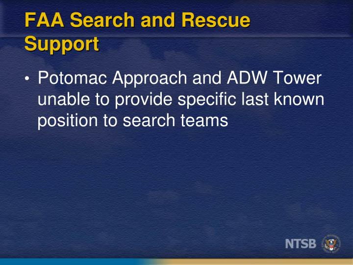 FAA Search and Rescue Support