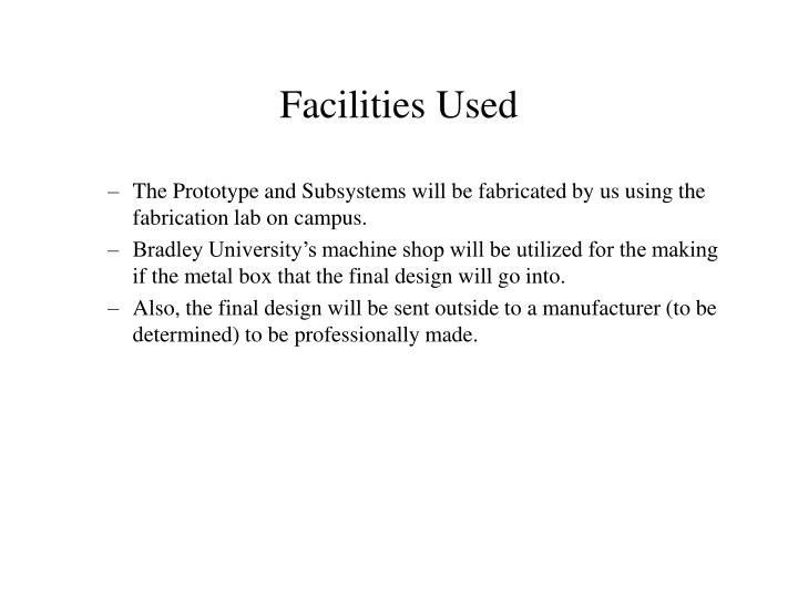 Facilities Used