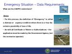emergency situation data requirements