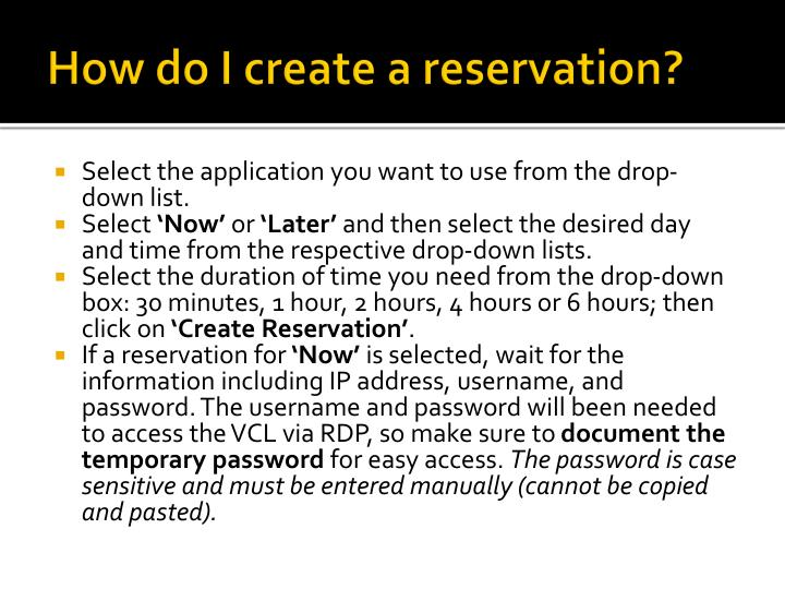 How do I create a reservation?