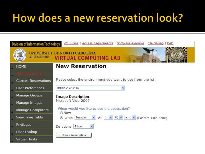 How does a new reservation look?