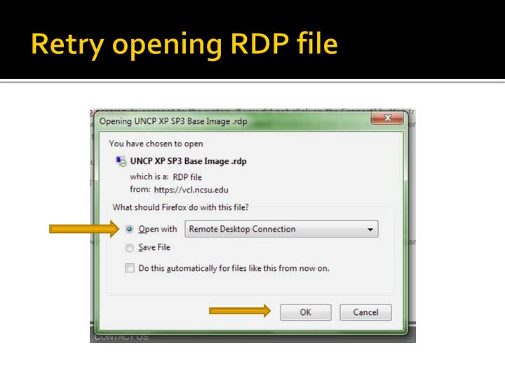 Retry opening RDP file
