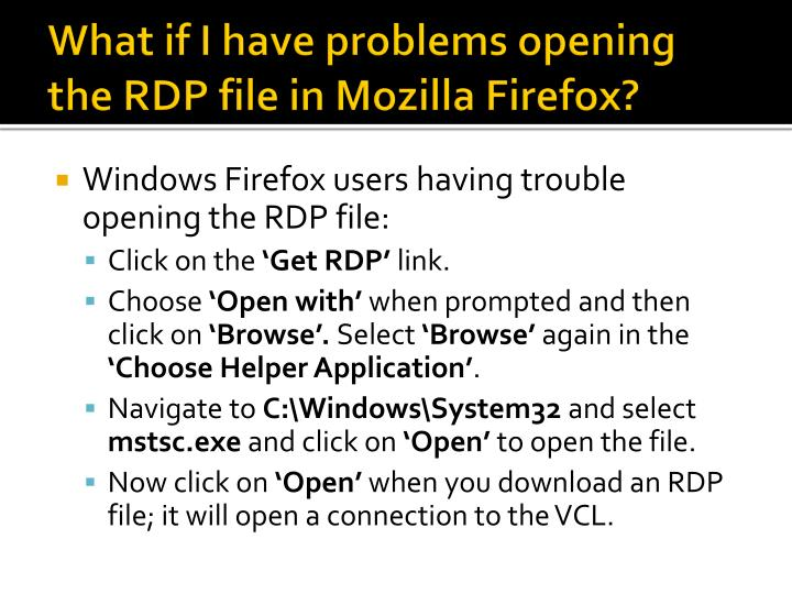 What if I have problems opening the RDP file in Mozilla Firefox?