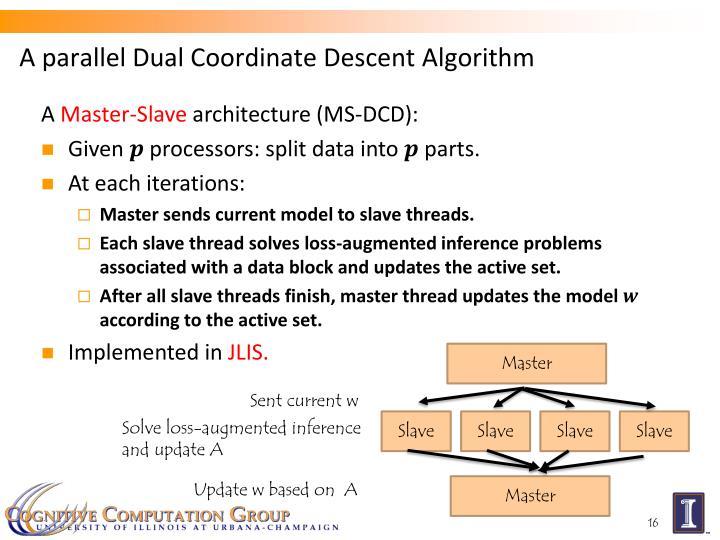 A parallel Dual Coordinate Descent Algorithm