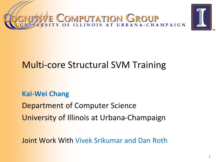 Multi core structural svm training