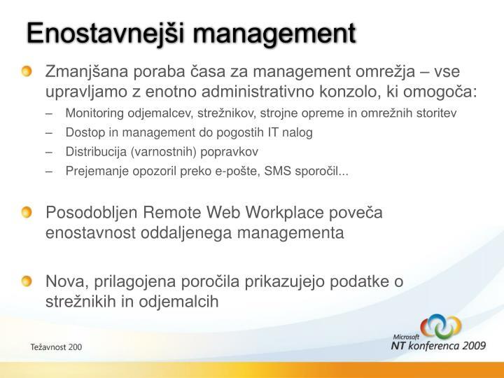 Enostavnejši management