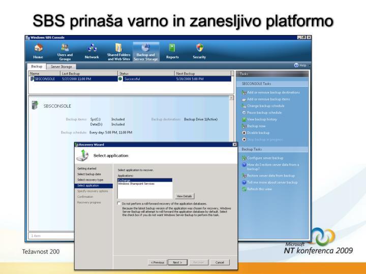 SBS prinaša varno in zanesljivo platformo