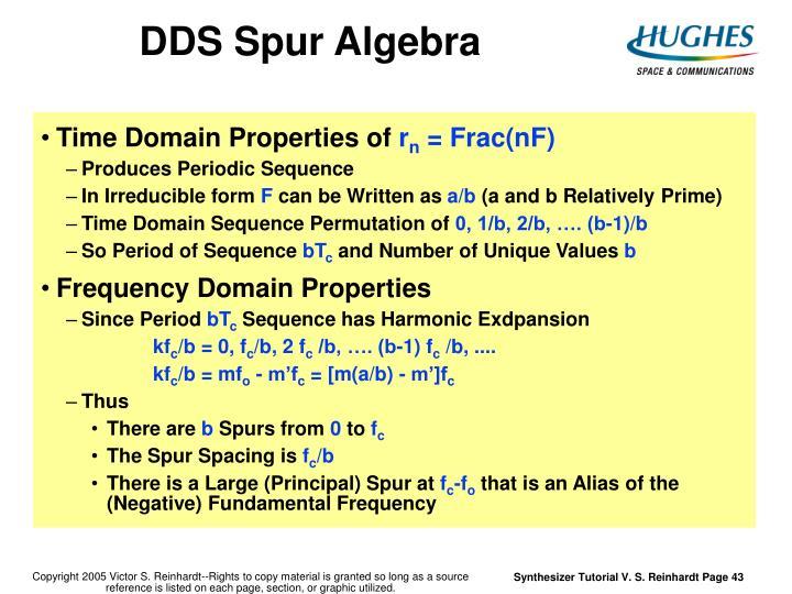 DDS Spur Algebra