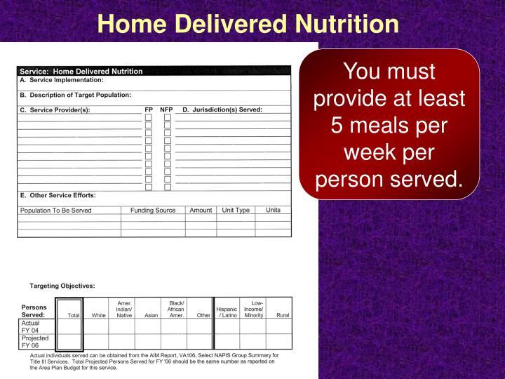 Home Delivered Nutrition