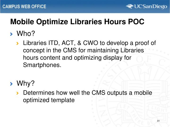 Mobile Optimize Libraries Hours POC