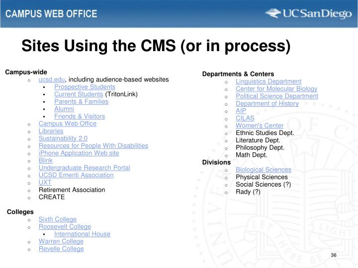 Sites Using the CMS (or in process)