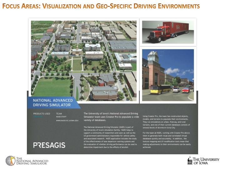Focus Areas: Visualization and Geo-Specific Driving Environments