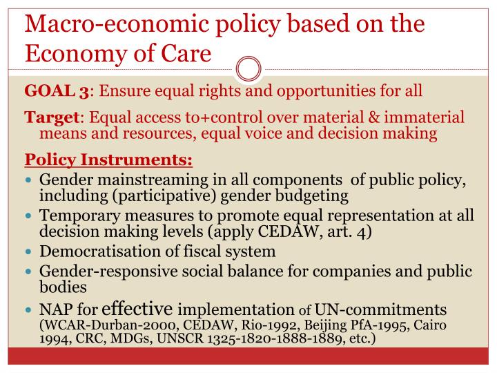 Macro-economic policy based on the Economy of Care