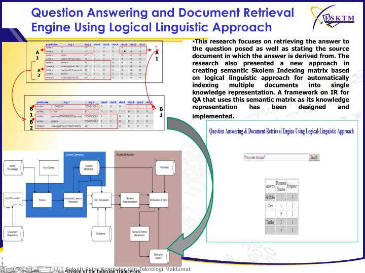 Question Answering and Document Retrieval Engine Using Logical Linguistic Approach