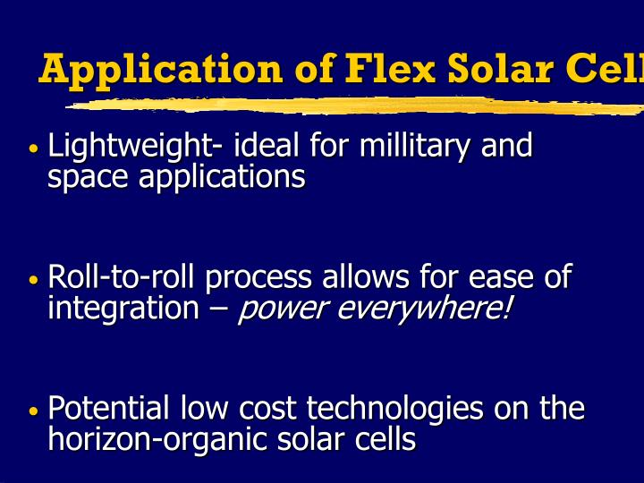 Application of Flex Solar Cells