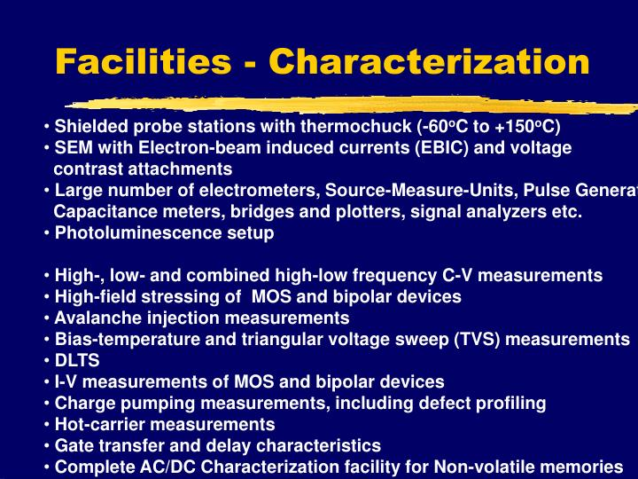 Facilities - Characterization