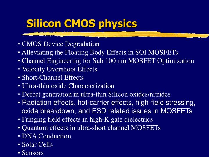 Silicon CMOS physics