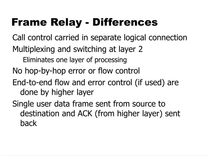 Frame Relay - Differences