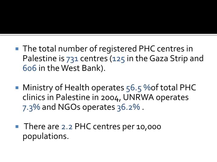 The total number of registered PHC