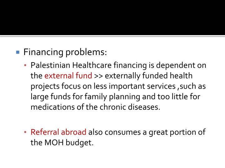 Financing problems: