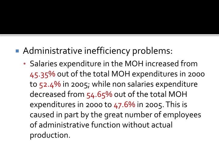 Administrative inefficiency problems: