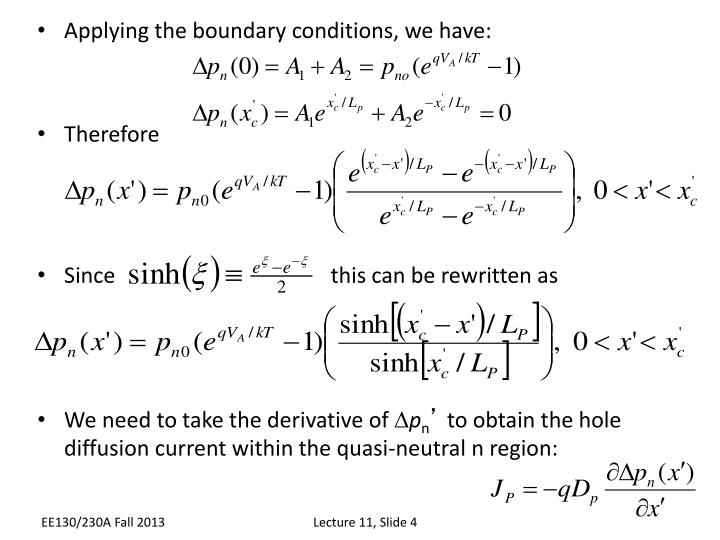 Applying the boundary conditions, we have: