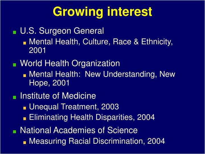 Growing interest