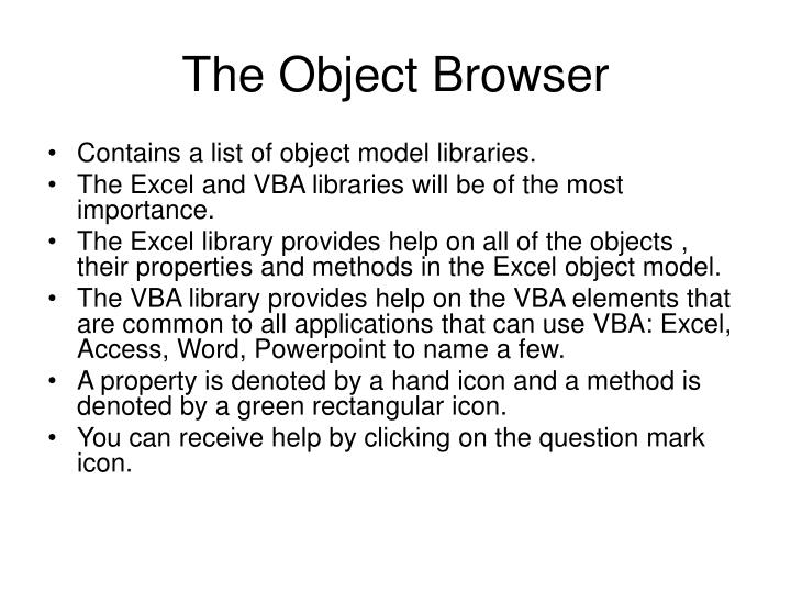 The object browser