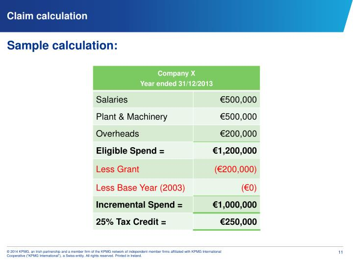 Claim calculation
