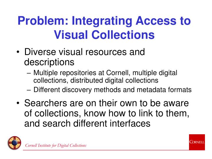Problem integrating access to visual collections