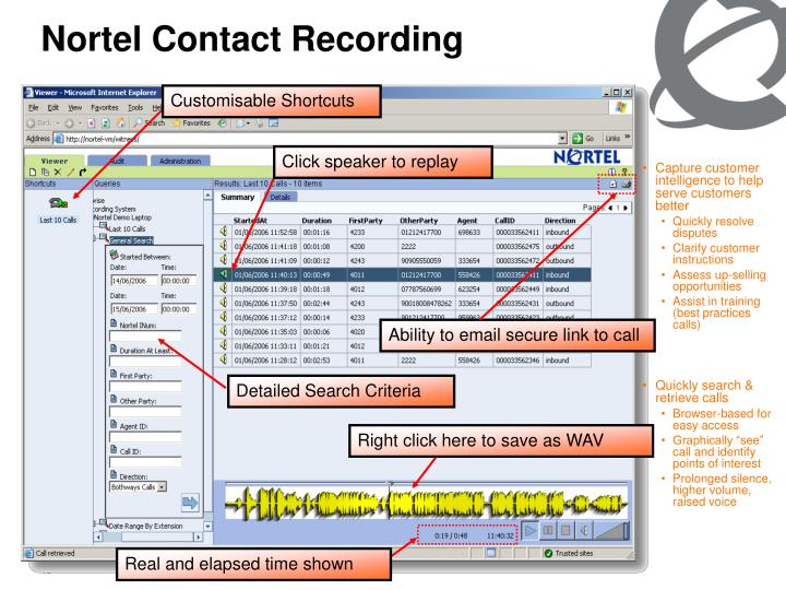 Nortel Contact Recording