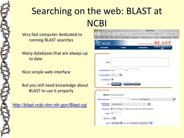 Searching on the web: BLAST at NCBI