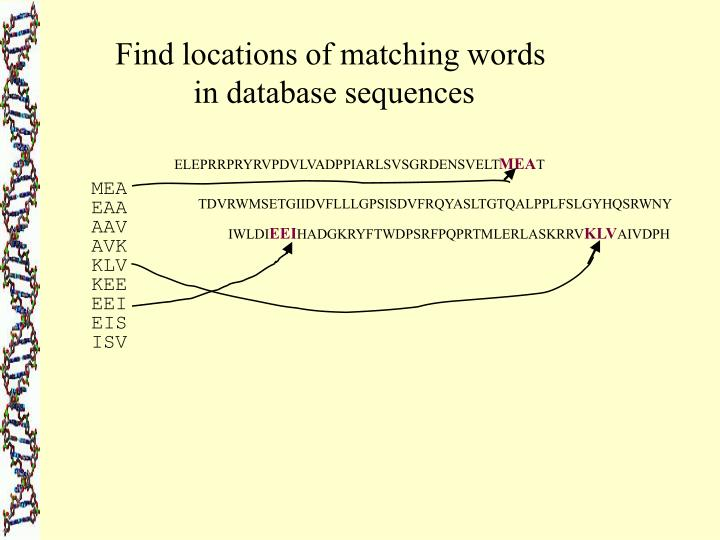 Find locations of matching words