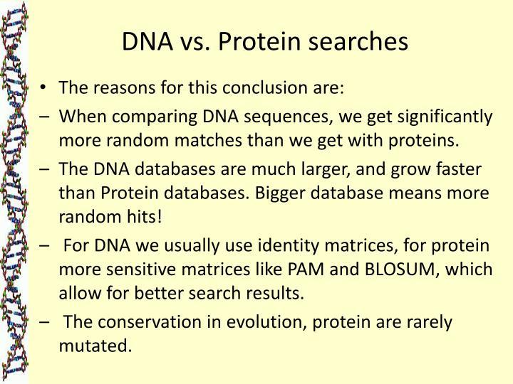 DNA vs. Protein searches
