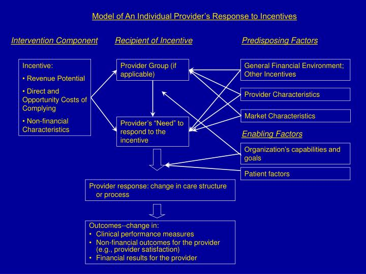 Model of An Individual Provider's Response to Incentives