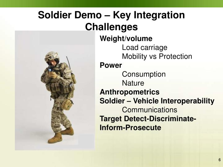 Soldier Demo – Key Integration Challenges