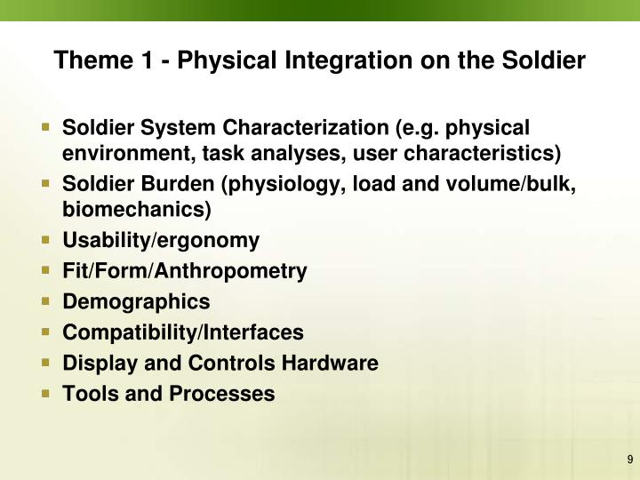 Theme 1 - Physical Integration on the Soldier
