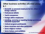 other business activities allowed under b 1