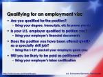 qualifying for an employment visa
