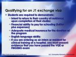 qualifying for an j1 exchange visa