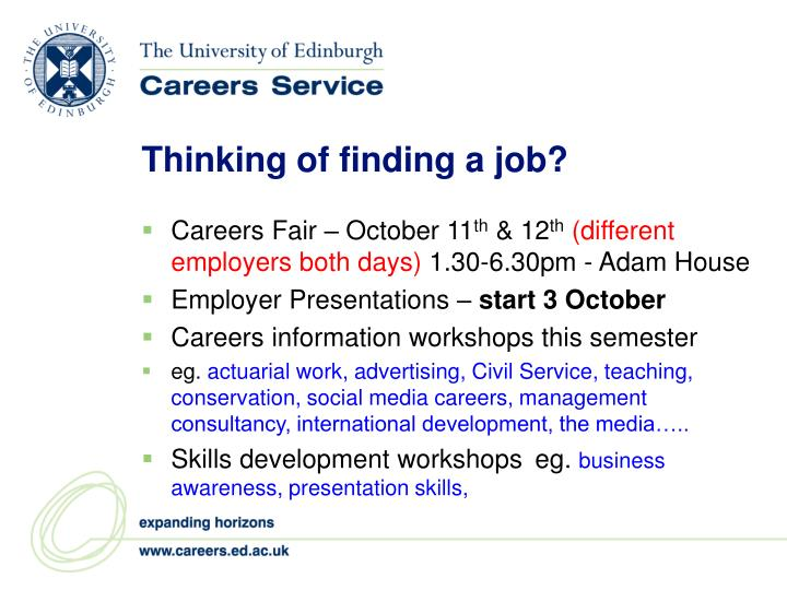 Thinking of finding a job?
