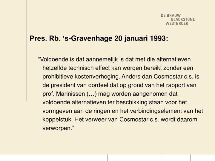 Pres rb s gravenhage 20 januari 1993