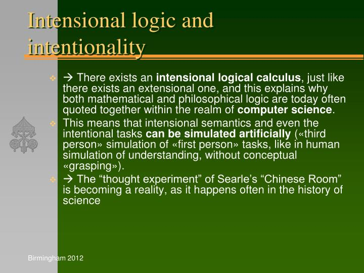 Intensional logic and intentionality