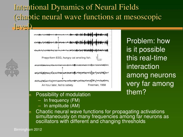 Intentional Dynamics of Neural Fields (chaotic neural wave functions at mesoscopic level)