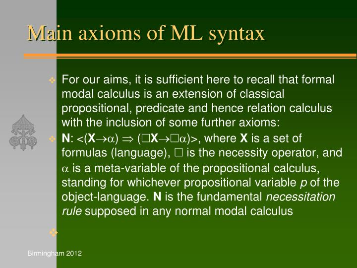 Main axioms of ML syntax