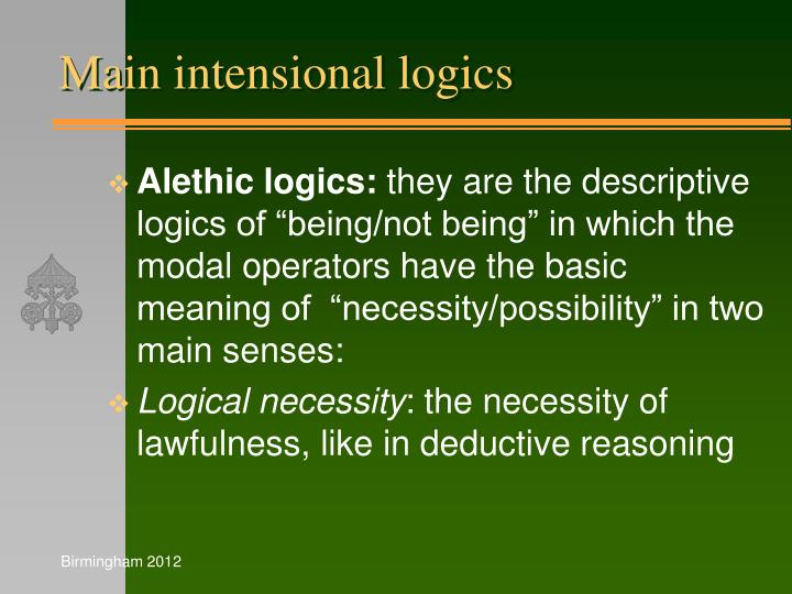 Main intensional logics