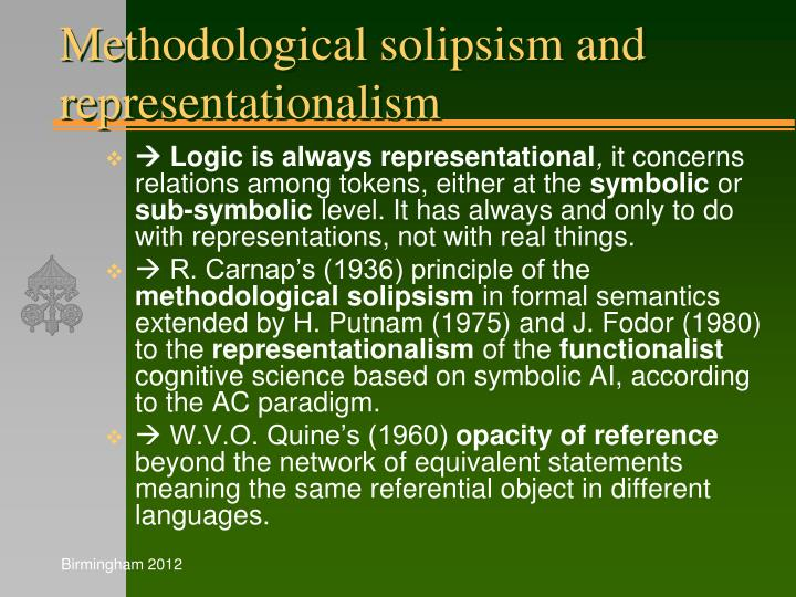 Methodological solipsism and representationalism