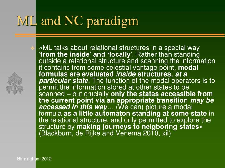 ML and NC paradigm